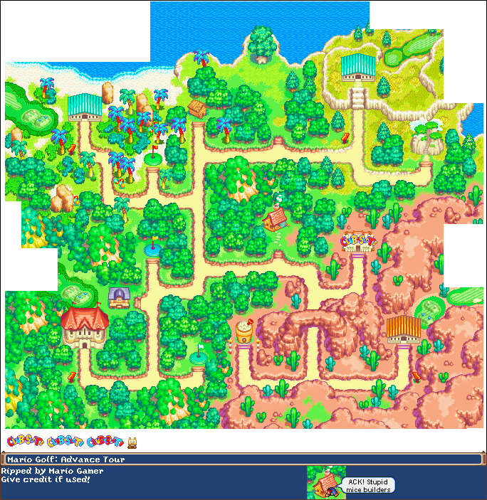Game Boy Advance - Mario Golf: Advance Tour - Overworld Map