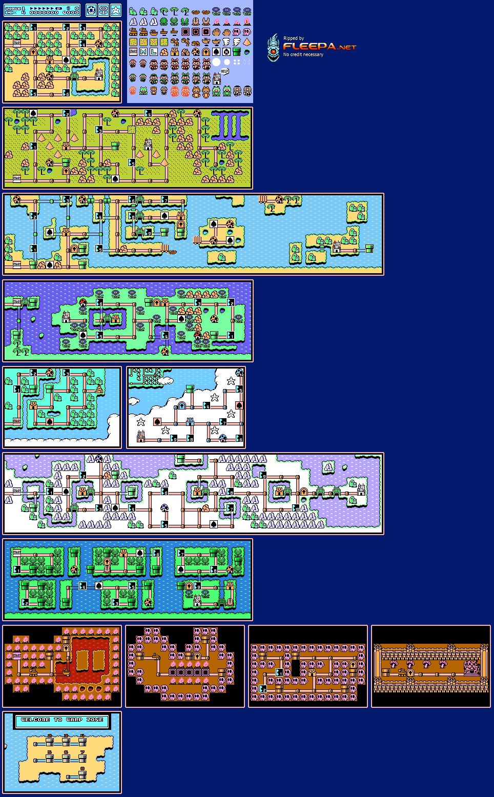 Nes Super Mario Bros 3 Maps The Spriters Resource