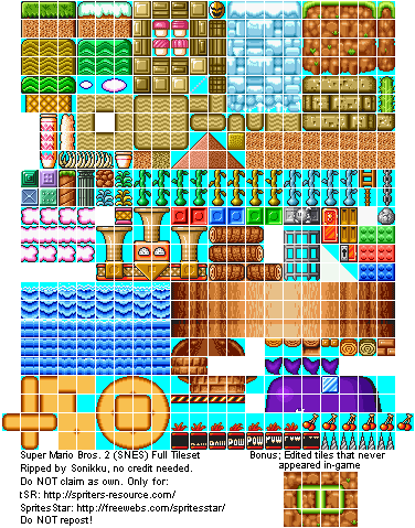SNES - Super Mario All-Stars: Super Mario Bros  2 - Tileset