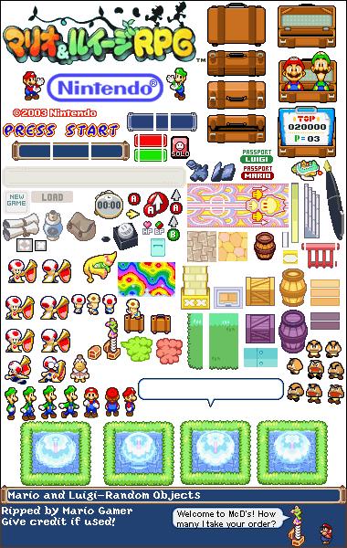 Game Boy Advance Mario Luigi Superstar Saga General Sprites
